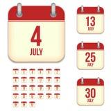July vector calendar icons Stock Photo