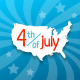 4 july vector illustration. Hand drawn USA map with shadow and 4 july Stock Photography