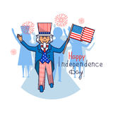 4 july. Vector illustration of Independence Day. Card with Uncle Sam. Uncle Sam poster. Greeting card for 4th of July Independence day with Uncle Sam stock illustration