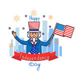 4 july. Vector illustration of Independence Day. Card with Uncle Sam. Uncle Sam poster. Greeting card for 4th of July Independence day with Uncle Sam vector illustration