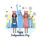 4 july. Vector illustration of Independence Day. Uncle Sam poster. Greeting card for 4th of July Independence day with celebrating girls vector illustration
