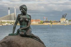 July, 8 2018 -A view of the Little mermaid statue in Copenhagen Denmark. July, 8 2018 - The Little mermaid statue in Copenhagen Denmark - A statue of the Little royalty free stock photography