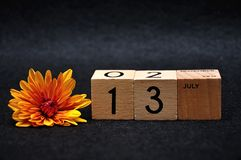 13 July on wooden blocks with an orange daisy. On a black background stock image
