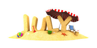 JULY - word of sand Stock Image