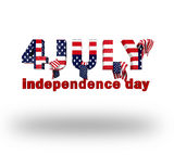 4 july words. On white background stock illustration
