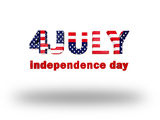 4 july words. And white background stock illustration