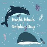 July 23 - the world day of whales and dolphins. Whale and Dolphin together. stock illustration