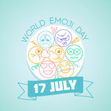 17 july World Emoji Day. Calendar for each day on july 17. Greeting card. Holiday - World Kiss Day. Icon in the linear style Stock Illustration