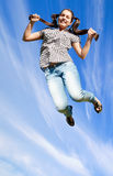 Jum over clouds Royalty Free Stock Photo