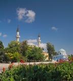 Juma-Jami Mosque and Cathedral of St. Nicholas. Crimea, Juma-Jami Mosque Jami Khan Devlet Giray Khan founded in 1552 and Cathedral of St. Nicholas founded in royalty free stock photography