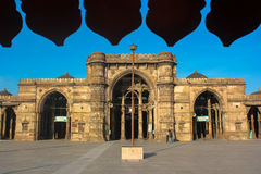 Juma Mosque. Of Ahmedabad, India which is a classic example of muslim and hindu architecture has three arch style design stock photo