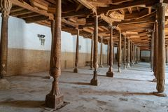 Juma Mosque wooden structure in Khiva, Uzbekistan. Khiva, Uzbekistan - August 2018: Juma Mosque wooden structure in Khiva, Uzbekistan. Khiva is a city royalty free stock images