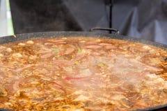 Jumbalaya in a big paella pan. Jumbalaya, Louisiana meat, in a big paella pan. Close up royalty free stock images