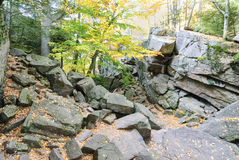 Jumble of granite. At Purgatory Chasm State Reservation royalty free stock photo