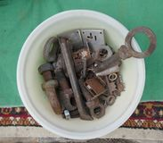 Jumble of old rusty hand tools. Old rusty messy hand tools.  stock photography