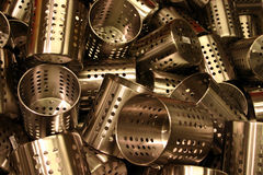Jumble of stainless steel. Jumbled display of stainless steel kitchen containers Royalty Free Stock Photo
