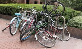 Messy bike pile packed and chained royalty free stock photography