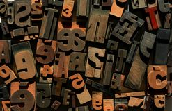 Jumbled letters and numbers, wooden letterpress Royalty Free Stock Photos