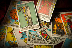 Jumbled and Scattered Pile of Tarot Cards Royalty Free Stock Photography