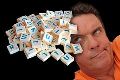 Jumbled scrambled words letters dyslexia confusion phobia stock image
