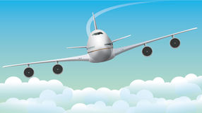 Jumbo αεροπλάνων - αεριωθούμενο αεροπλάνο στο μπλε ουρανό Στοκ φωτογραφία με δικαίωμα ελεύθερης χρήσης
