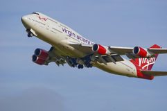 Jumbo atlantico 747 del Virgin Immagine Stock