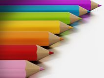 Jumbo colour pencils isolated on white background. 3D illustration.  Royalty Free Stock Photo