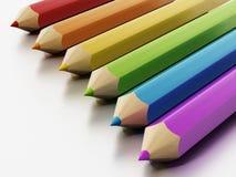 Jumbo colour pencils isolated on white background. 3D illustration.  royalty free illustration