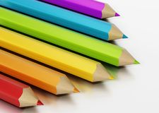 Jumbo colour pencils isolated on white background. 3D illustration.  vector illustration