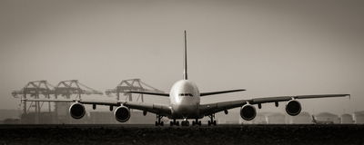 A380 jumbo jet airliner on runway Stock Photo