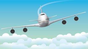 Jumbo-jet dell'aeroplano su cielo blu Fotografia Stock Libera da Diritti