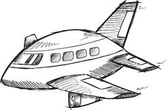 Jumbo Jet Doodle Vector Stock Images