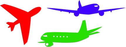 Jumbo jet icons Royalty Free Stock Photo