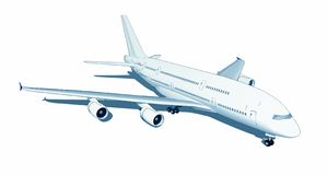 Jumbo jet isolated on white Stock Photos