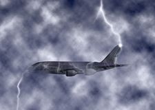 Jumbo Jet Plane Struck By Lightning Turbulent Sky Illustration Royalty Free Stock Photos