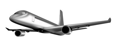 Jumbo jet plane taking off. Illustration of an airplane taking off viewed from a low angle Royalty Free Stock Image