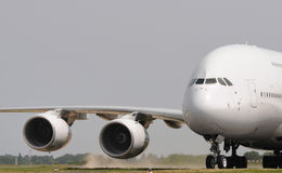 Jumbo jet taking off. Taxi way Stock Image