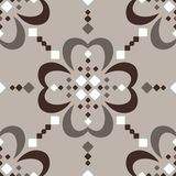 Large scale Fair Isle style brown beige seamless pattern. Jumbo large scale Fair Isle style brown beige white vector seamless abstract floral pattern royalty free illustration