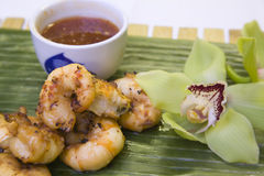 Jumbo Prawns. With a Thai sweet chili dipping sauce Stock Images