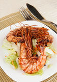 Jumbo prawns with lettuce Royalty Free Stock Photography