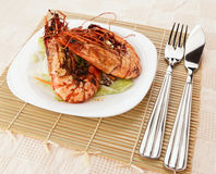 Jumbo prawns with lettuce Stock Image