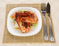 Jumbo prawns with lettuce Royalty Free Stock Image
