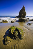 Jumbo rock in Malibu beach Stock Photo