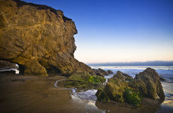 Jumbo rock in Malibu beach Royalty Free Stock Images