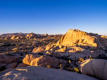 Jumbo Rocks at sunset in Joshua Tree National Park Royalty Free Stock Images