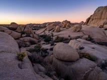 Jumbo Rocks at sunset  in Joshua Tree National Park Stock Photos