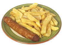 Jumbo Sausage and Chips Stock Images