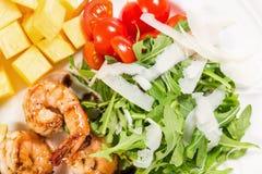 Jumbo shrimp salad with avocado mango Stock Photos
