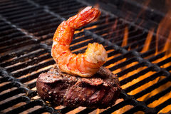 Jumbo Shrimp and Steak on a Grill Royalty Free Stock Photo