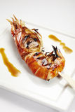 Jumbo shrimp on stick Royalty Free Stock Photos